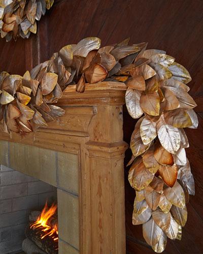 Gold & Glitter Collection 6' Pre-Lit Magnolia Garland