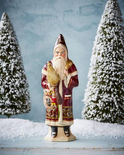 Brocade Statement Santa Figurine
