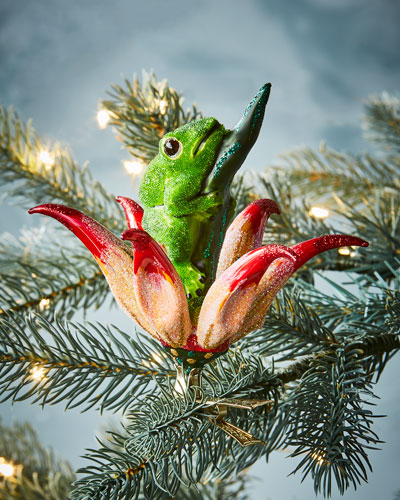 Frog on Flower Clip - On Ornament