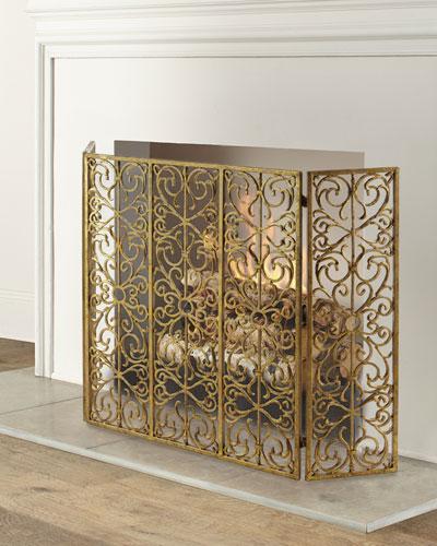 Iron Three-Panel Fire Screen