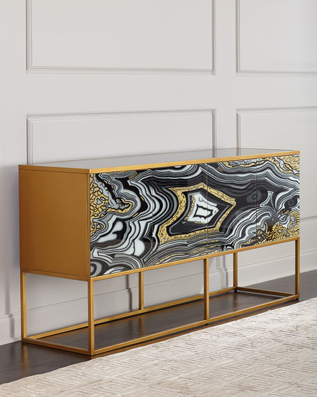 John-Richard Collection Nicola Painted-Agate Console