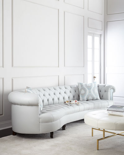 Rebecca Tufted Leather Mirrored Sofa 122