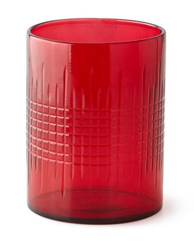 Large Cut Glass Hurricane, Red