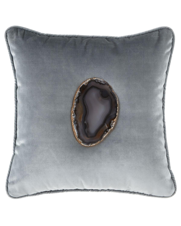 Mist Agate Geode Velvet Pillow