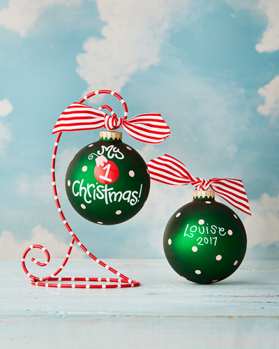 Girls' My First Christmas Personalized Ornament with Red Stand