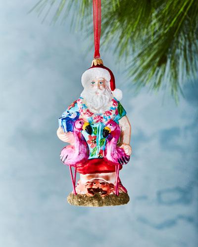 Hawaiian Santa with Flamingos Ornament