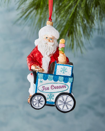 Ice Cream Vendor Santa Ornament