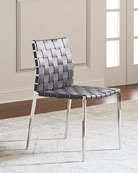Kennedy Stainless Woven Leather Dining Chair, Gray