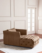 Sandra Tufted Leather Chaise