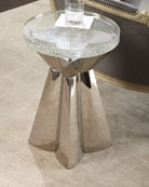 Uma Stainless Steel & Glass Side Table