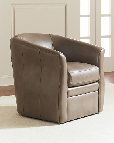 Leander Leather Swivel Chair, Dark Taupe