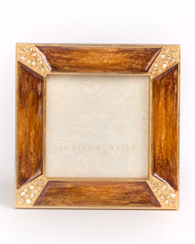 Leland Pave Corner Square Picture Frame, Medium Brown