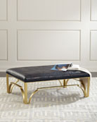 Astor Leather and Brass Ottoman