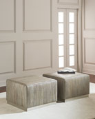 Cormac Embossed Leather Ottoman