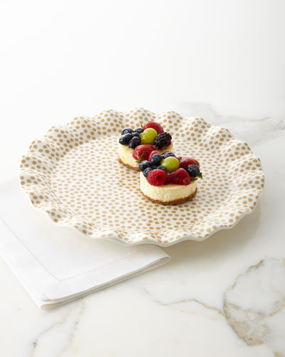 Small-Dot Ruffle Cobble Platter
