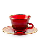 Neiman Marcus Red Oro Bello Tea Cup and
