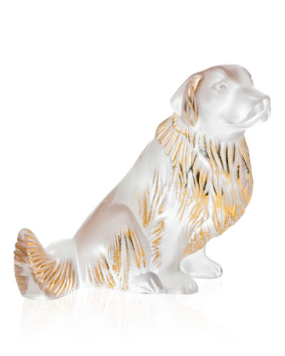 Crystal Golden Retriever Dog Sculpture