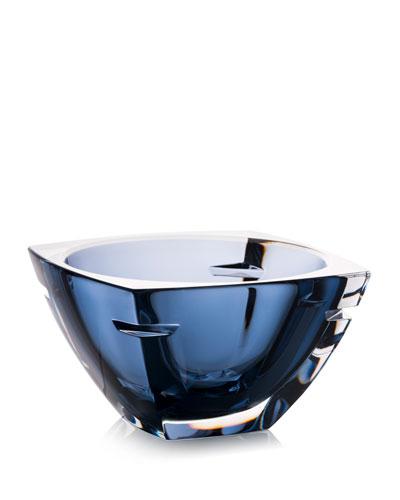 W Crystal Bowl, Blue, 7