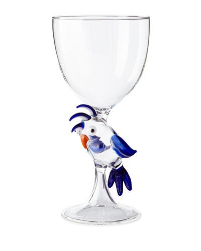 Parrot Stem Glass, Blue