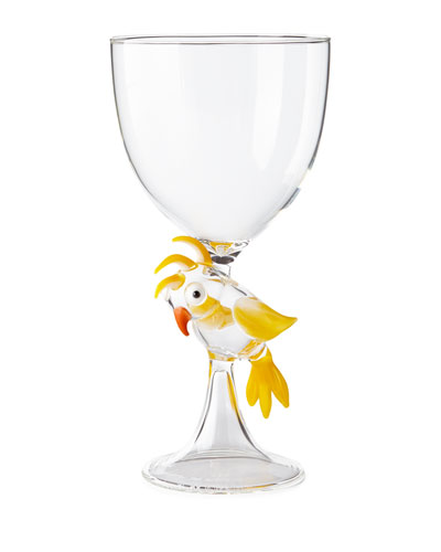 Parrot Stem Glass, Yellow