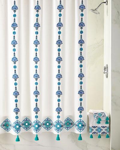 Quick Look John Robshaw Aloka Blue Shower Curtain