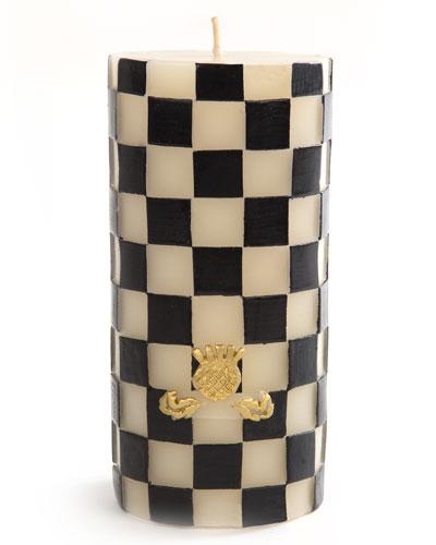 Check Pillar Candle, Black/White