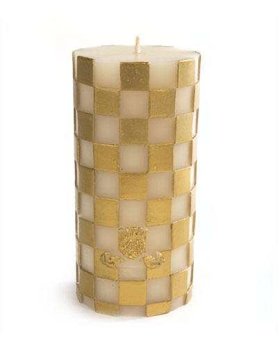Check Pillar Candle, Gold/White