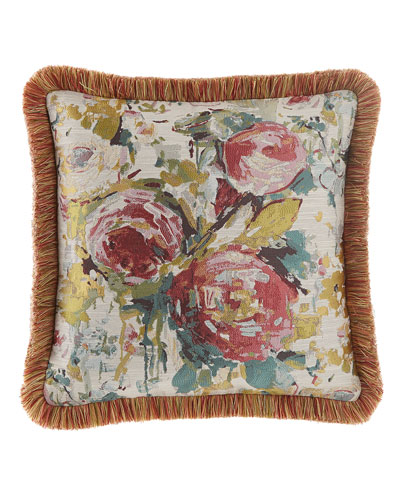 Anna Maria Floral Boutique Pillow with Brush Fringe