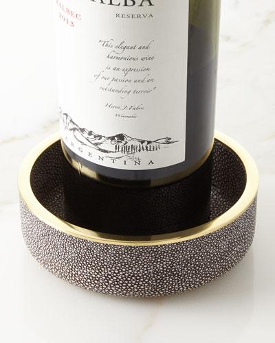 Faux-Shagreen Wine Coaster