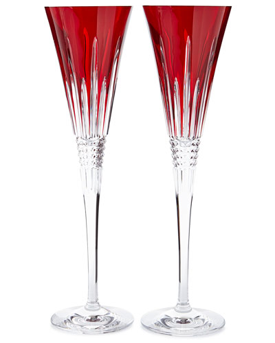 Lismore Diamond-Faceted Toasting Flutes, Red, Set of 2