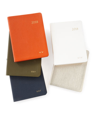 2018 Leather Desk Diary, Personalized