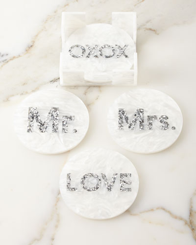 Round Bridal Coasters, Set of 4