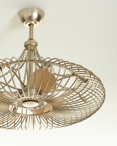 Ribbons of Silver 8-Light Pendant with Fan