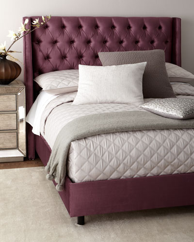 Blair Upholstered Tufted Wingback Queen Bed