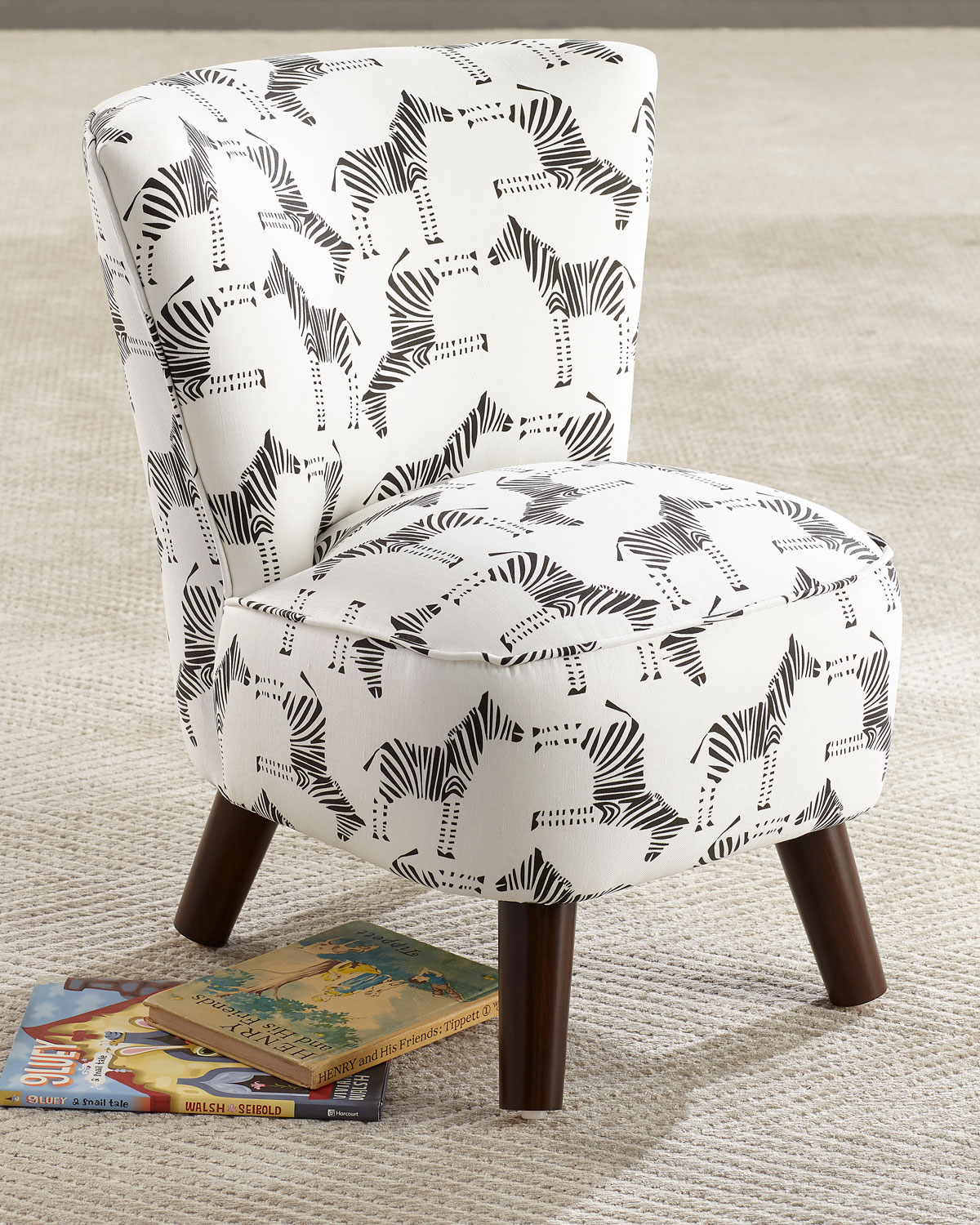 Kids' Oriana Zebra-Print Chair
