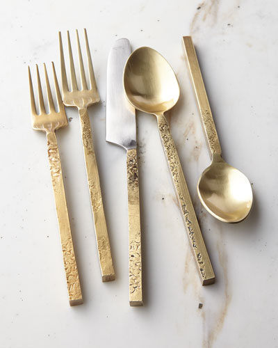 20-Piece Mala Flatware Set, Yellow Metallic