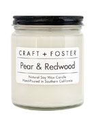 Craft + Foster Pear and Redwood Scented Candle,