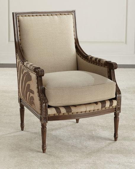 Massoud Annie Zebra Washed Leather/Linen Chair