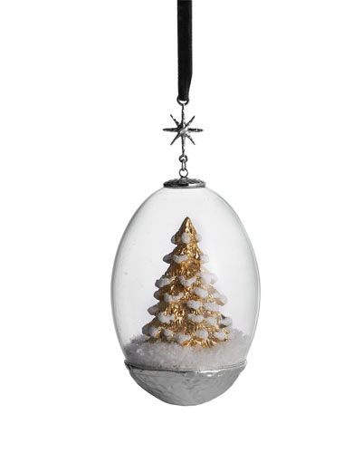 Tree Egg Snow Globe Ornament