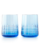 Graphik Stemless Goblets, Set of 2, Blue