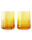 Graphik Stemless Goblets, Set of 2, Amber