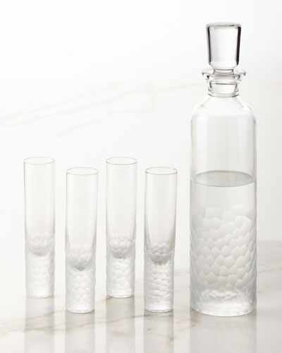 Artic Vodka Decanter and Four Shot Glasses