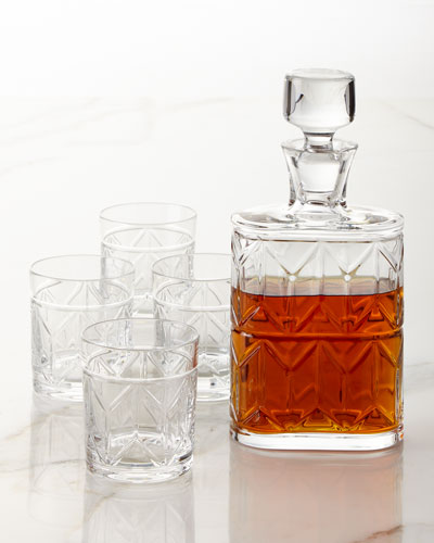 Vista Alegre Avenue Whiskey Decanter and Four Double Old - Fashioneds