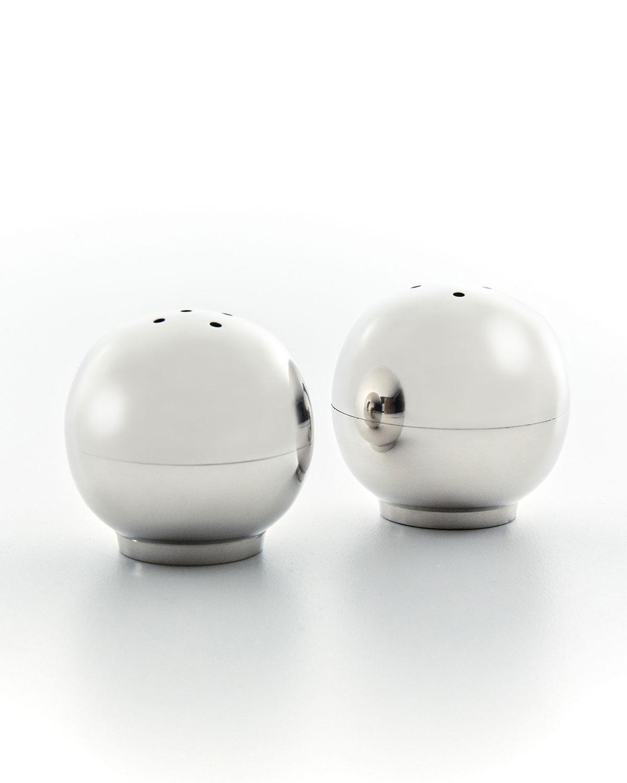 Mary Jurek WHITE NICKEL BALL SALT/PEPPER SHAKERS