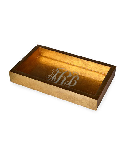 Eos Monogram Small Wood Rectangle Tray, Gold