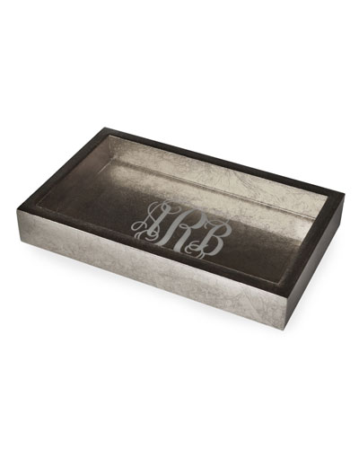 Eos Monogram Small Wood Rectangle Tray, Silver