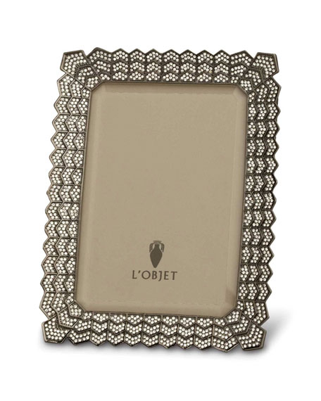 "L'Objet Decorative Noir Picture Frame with Crystals, 4"" x 6"""