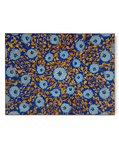 Flower Lace Mirror Placemat, Blue/Gold
