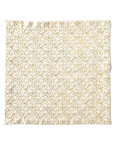 Floral Textured Napkin, Gold