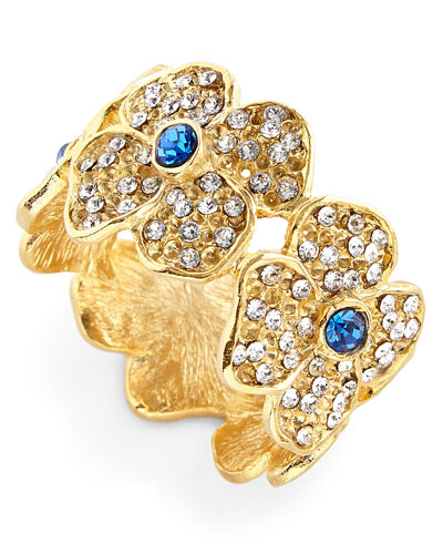 Daisy Flower Napkin Rings with Blue Crystal Center, Set of 4